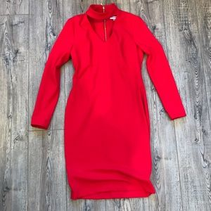 """""""Calvin Klein"""" Bright Red Midi Dress with Keyhole"""
